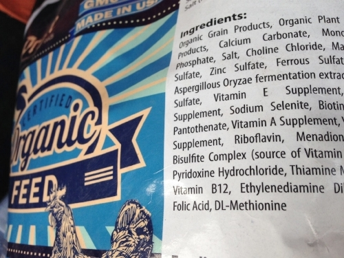 Organic chicken feed with B12 in ingredients, so people can eat it coming out someone's other end.