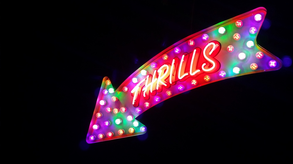 Thrills sign from the Mayor of Scaredy Cat Town Bar in London, England