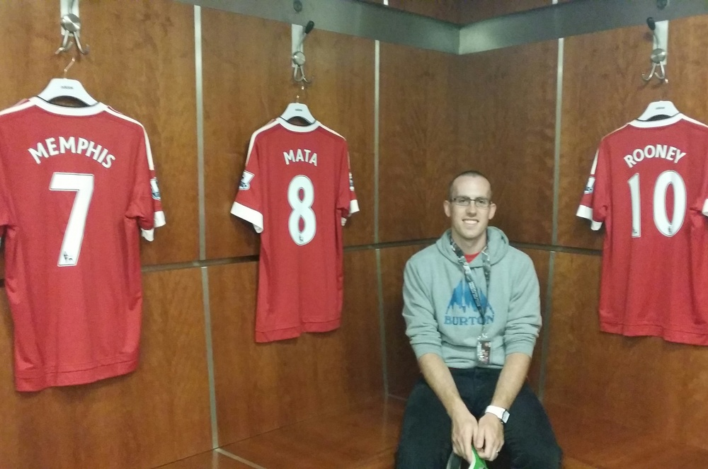 Sitting in the very spot that Memphis, Mata, and Rooney plant their butts before a game.