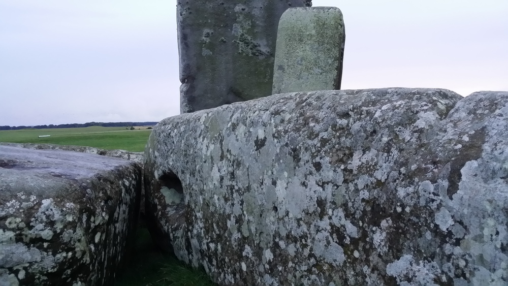The horizontal stones that sit on top of the upright stones use a Mortise and Tenon system (where two holes are carved into the horizontal stones and two peg-like mounds are carved into the tops of the upright stones) to hold them in place.