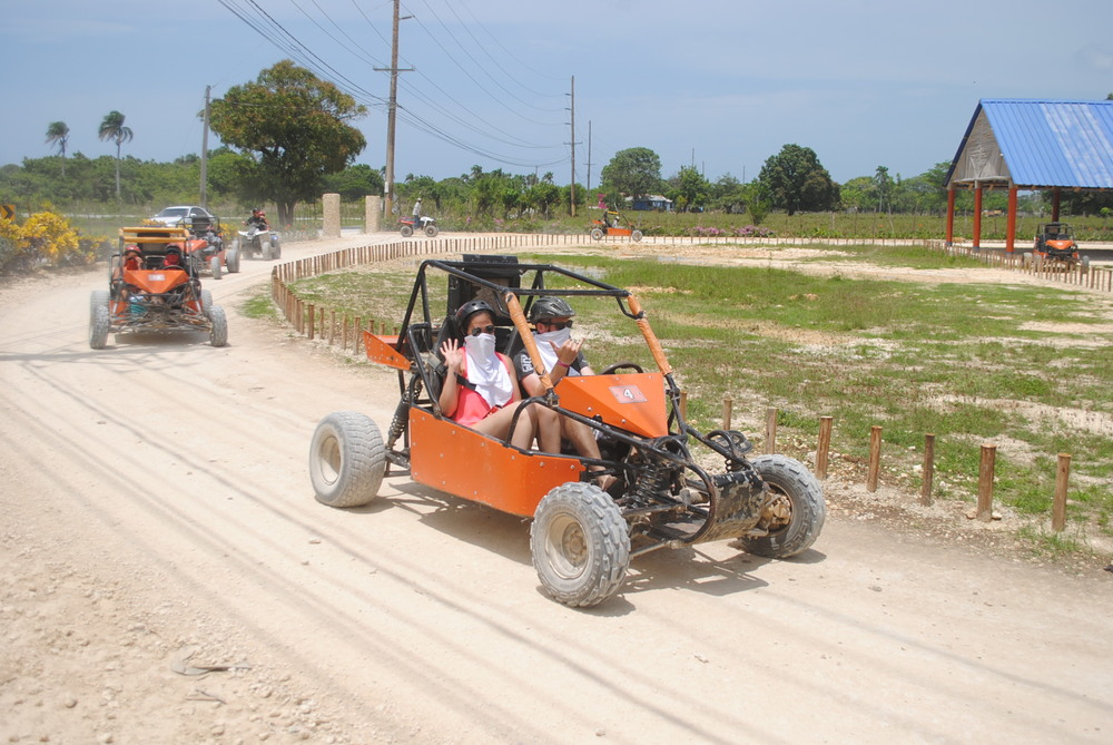 Dirt buggy-ing along farmlands in Punta Cana, Dominican Republic.