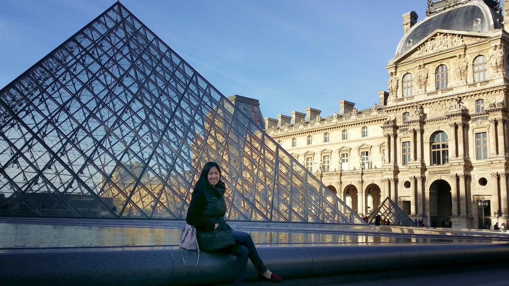 The famous glass pyramid at Le Louvre.