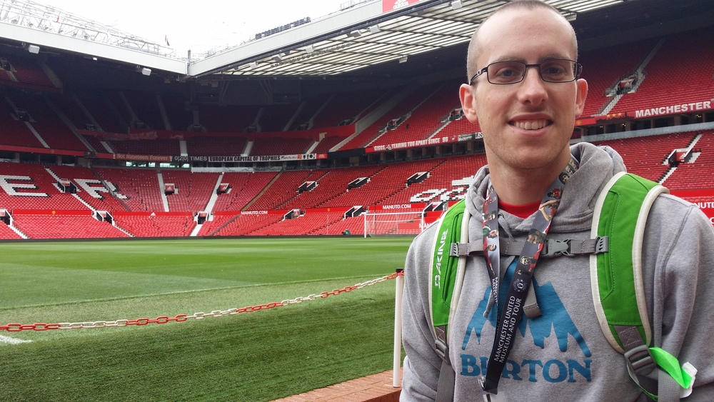 Happy as a clam, walking the grounds of the almighty Red Devils.