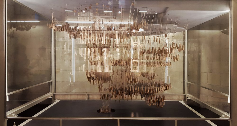 An example of what you'll find in the mini-museum at La Sagrada Familia - a display made of wooden pieces to plan out the weight distribution of the building.
