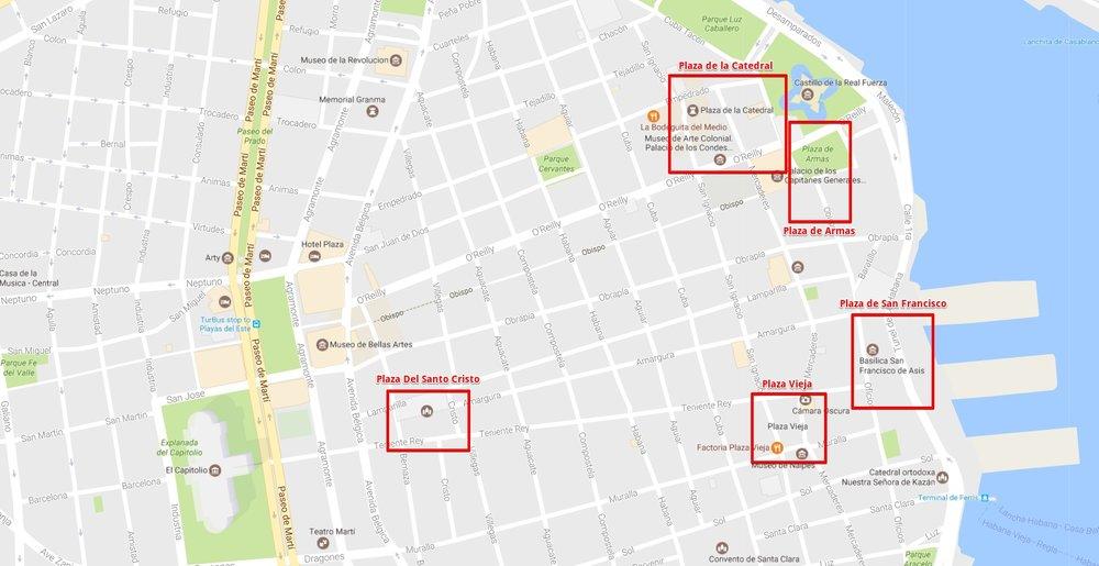 The Five Major Plazas of Havana