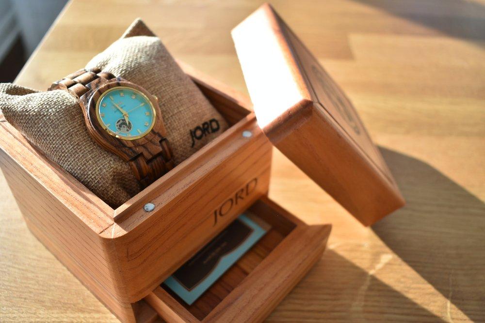 Wood watch in wood packaging