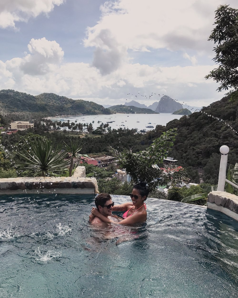 The private pool and view of El Nido from the highest villa at Viewdeck Cottages in El Nido thanks to our buddy vito.
