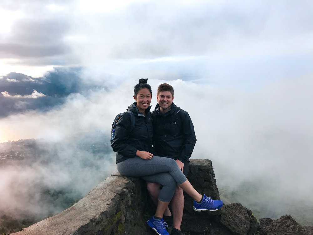 Sitting on top of Mount Batur in Bali, Indonesia