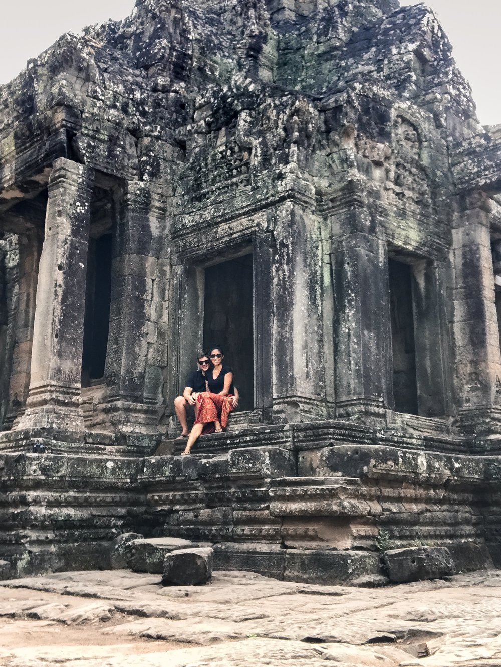 Although one this is one of the most blurry photos we've ever taken, it's a favourite. Taken in a quiet corner of The Bayon complex, where we spent a few moments alone in the midst of crowds. Pure magic.