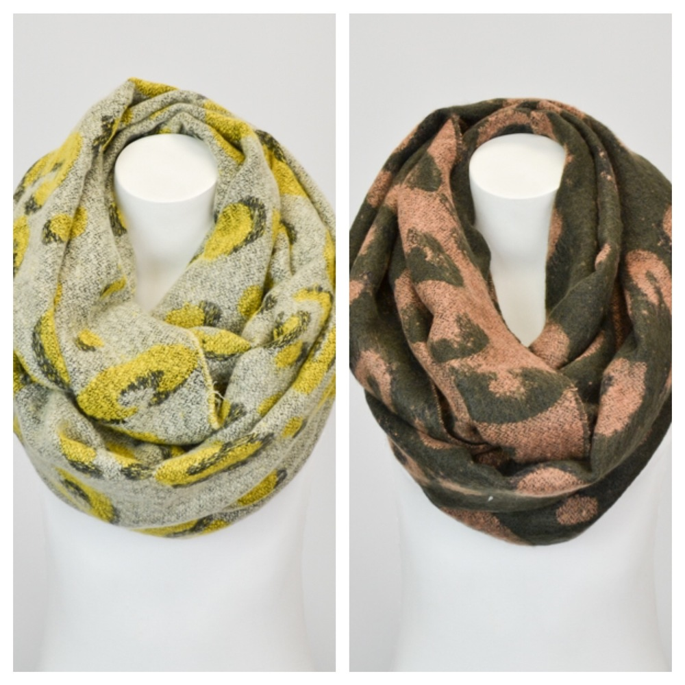 Who doesn't love getting a scarf during the holidays? It always fits and is the perfect finishing touch to any outfit or coat! SCD has both the mustard and olive leopard infinity scarf in stock, for $30! To purchase: Mustard or olive.