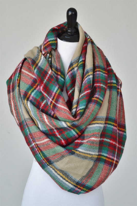 Taupe/red/green plaid blanket scarf, $28