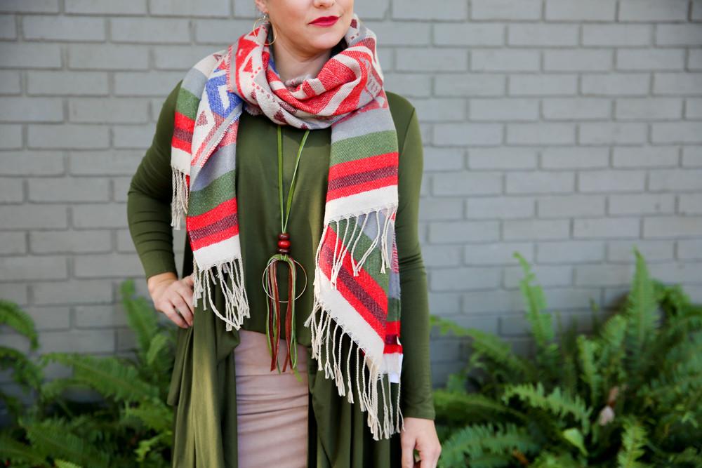 Aztec Fringe Blanket Scarf, $28