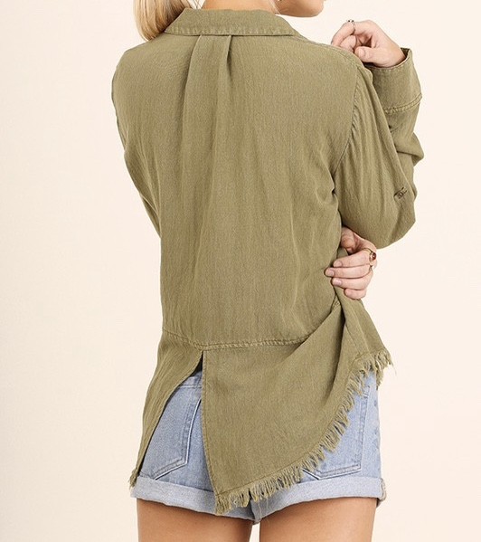 Olive Frayed Button Down L/S with Frayed Hem