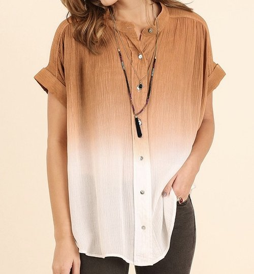 Rust and White Dip Dyed Button Up Shirt