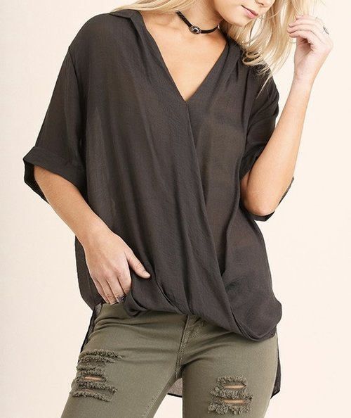 Black V-Neck with Hi/Low Hem
