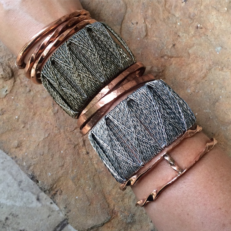 Single Twist,Trio of Connected Copper Bangles,and the Copper Double Twist Wave