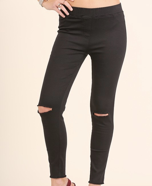 Open knee leggings.