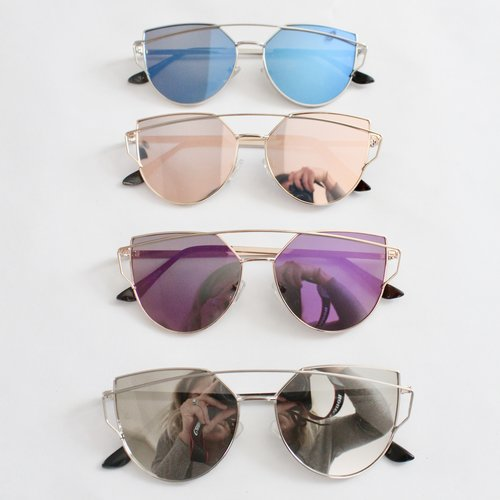 Mirrored sunglasses.
