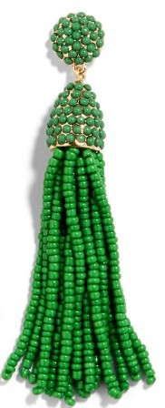 Emerald Beaded Tassel Earring $32