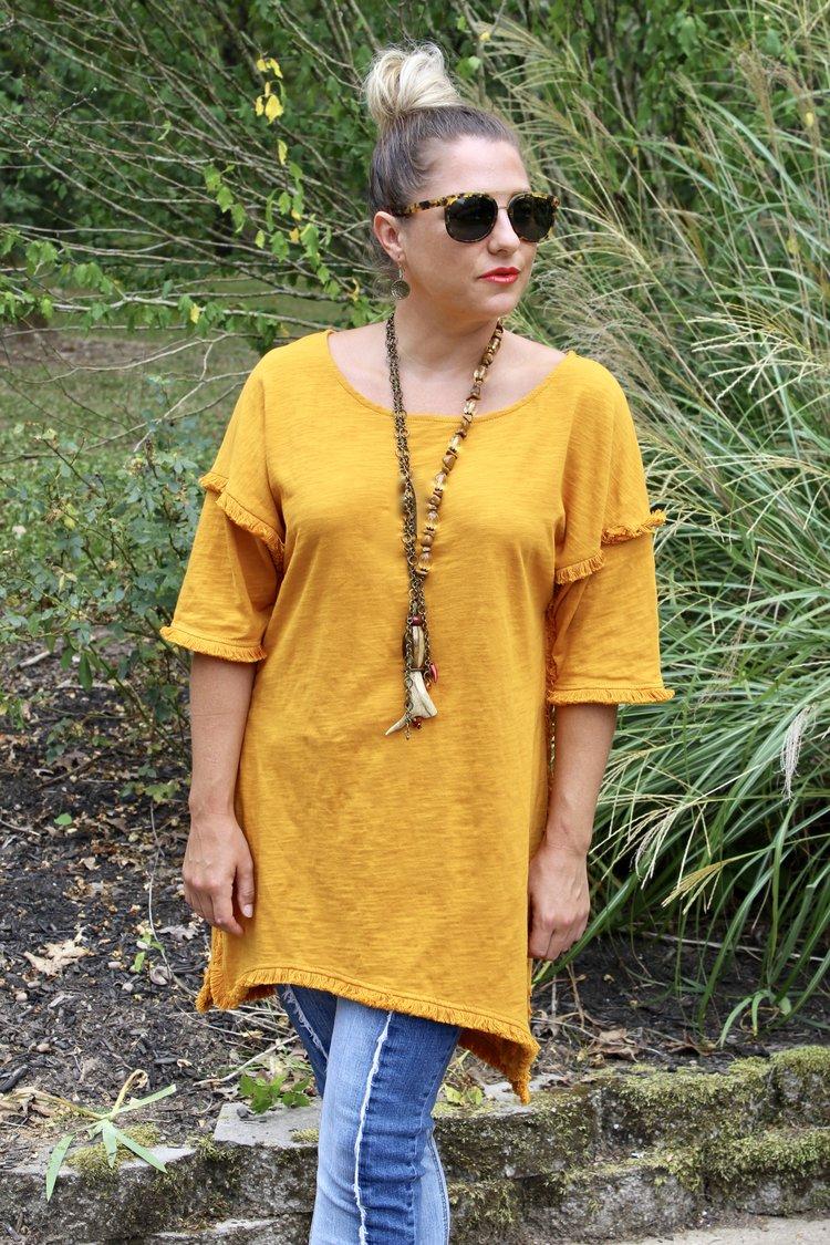 Mustard Hi/Low Fringe Tunic $35