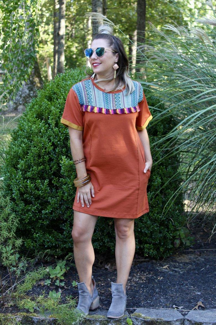 Fall Leaves Burnt Orange Dress $45