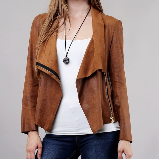 Cognac Draped Suede Jacket/Exposed Zipper