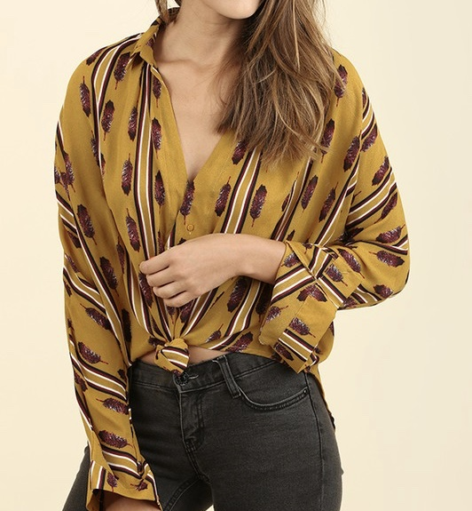 Mustard Feather Print Blouse.