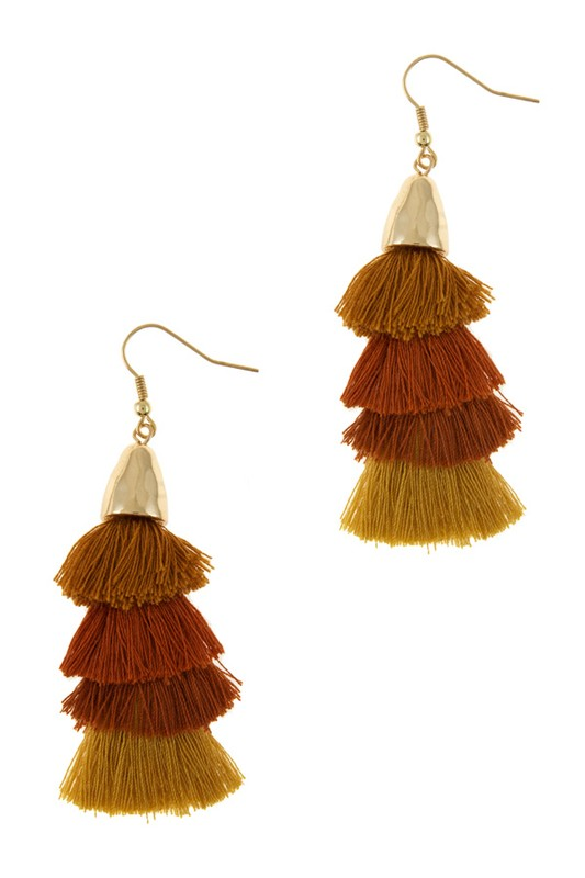 Mustard/Rust Tassel Earrings