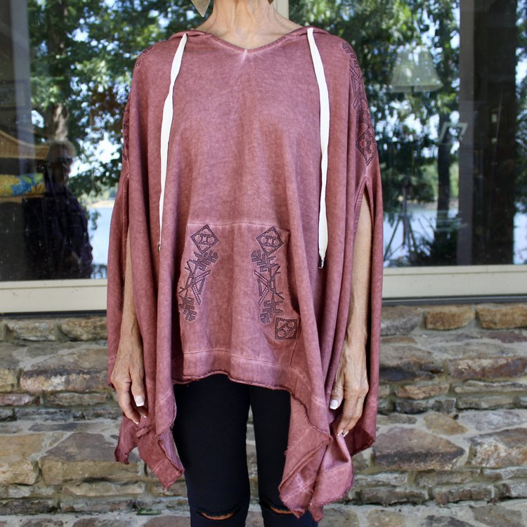 Brick Cape Hoodie/Detail Embroider y is so comfy paired with our Open Knee Hole leggings and some fun sneakers.  PERFECT ATTIRE TO WEAR OUT SHOPPING  ...casual, comfy, and chic!