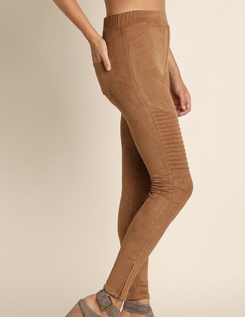 Walnut Suede Motto Leggings