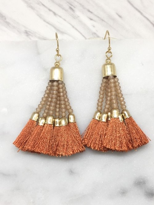 Glass Bead and Tassel Earrings