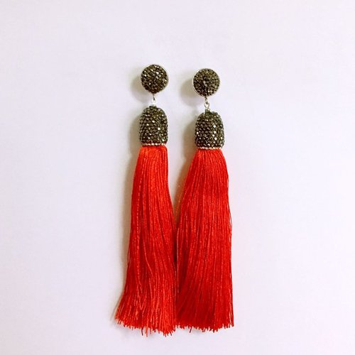 Pave Crystal Tassel Earrings