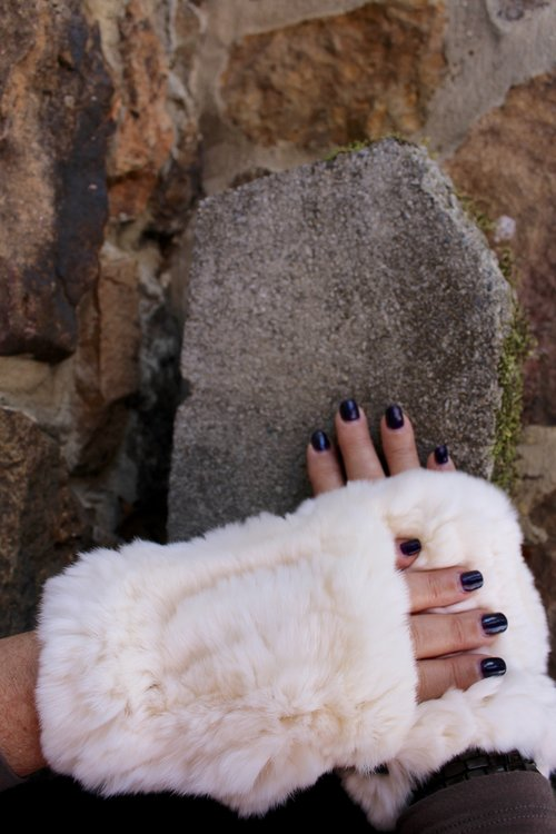 Fingerless Fur Gloves ...GREAT WAY for keeping warm and being able to swipe your cell phone without taking them off.  Also it shows your  PERFECT NAIL POLISH COLOR.