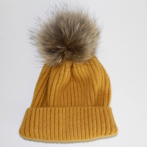 Ribbed Hat w Fur Pom Pom  Mustard and Orange. fullsizeoutput 1adc.jpeg be2366a18a0