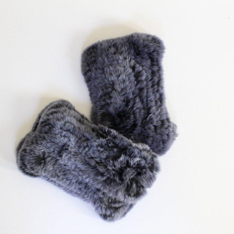 Indigo Ink fingerless fur gloves