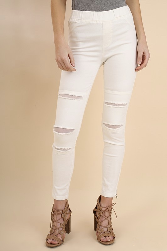 Distressed Mesh Jegging