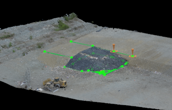 A digital volume and distance measurement being completed on the point cloud model for MatSu Landfill.