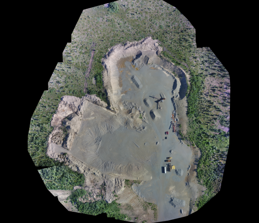 Orthomosaic tiled image stitched from our flights over the BBNC North King Salmon gravel pit. Image shown at partial resolution as full file is nearly 1 GB.