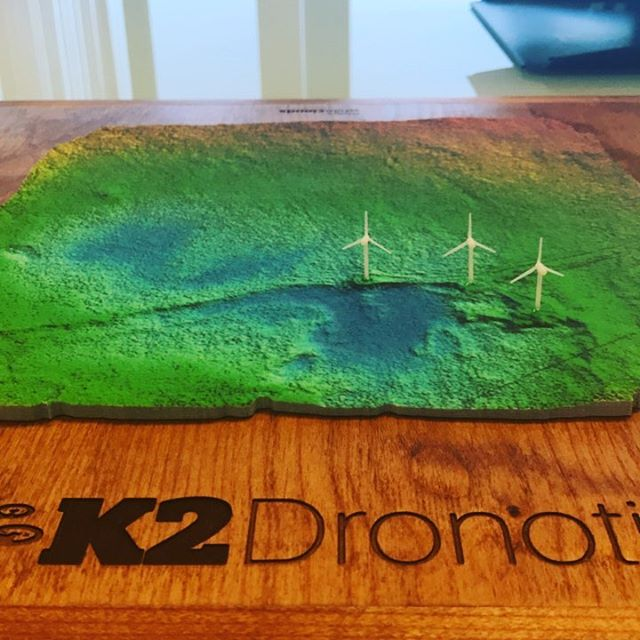 For when you need to see and feel the change in landscape. Our 3D printed drone map overlaid with elevation model, used here for wind farm planning on a remote Alaskan island.