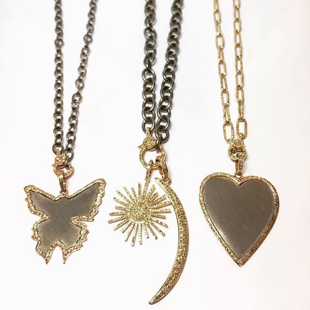 👀 what just came in!!! #nicolehdjewelry www.nicolehdjewelry.com . . #love #style #summer #fall #14kt #gold #sterlingsilver #diamonds #necklace #butterfly #heart #moon #starburst