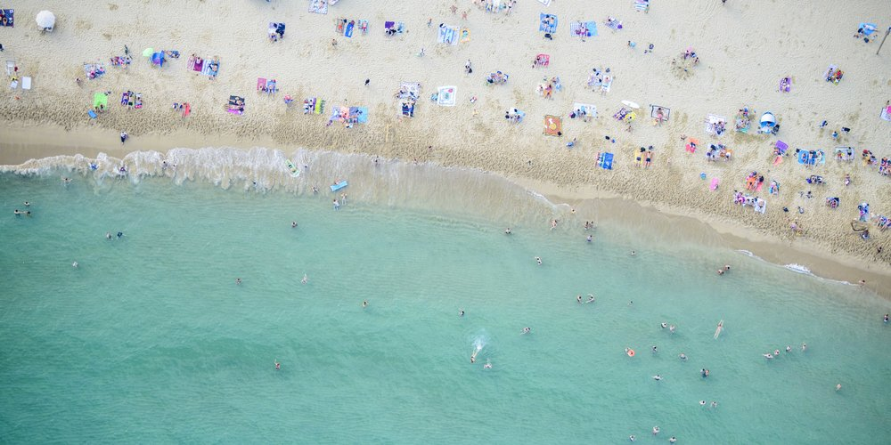 LfA - Barceloneta Beach 3  Size 20 x 40 inches  Hahnemuhle Fine Art Inkjet Print  Available as limited edition of 100 prints
