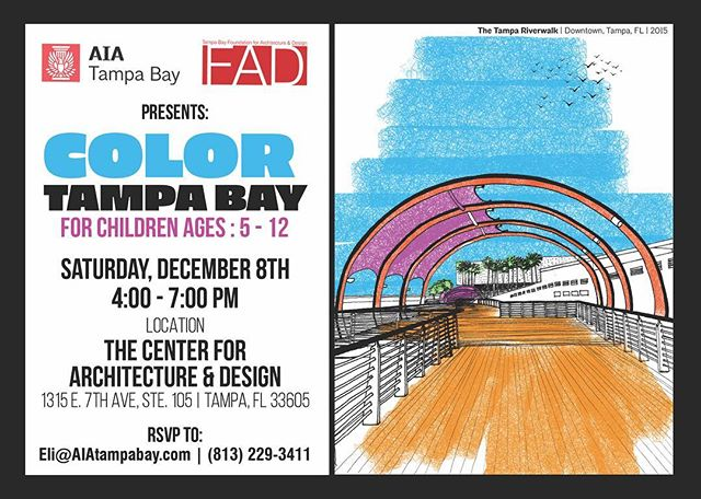 TOMORROW! Don't miss it! Attending the City Snow Holiday Parade in Ybor City this weekend? Stop by the Center for Architecture and Design from 4 p.m. to 7 p.m. for the first ever 'Color Tampa Bay'– children of all ages welcome. Kids will have the opportunity to color iconic buildings from all around the Bay Area. Snacks and balloons available too!  Parents will get the chance to browse the 2018 Holiday Shop packed with work from dozens of local artists, all under $100.  This event is free to all who attend!