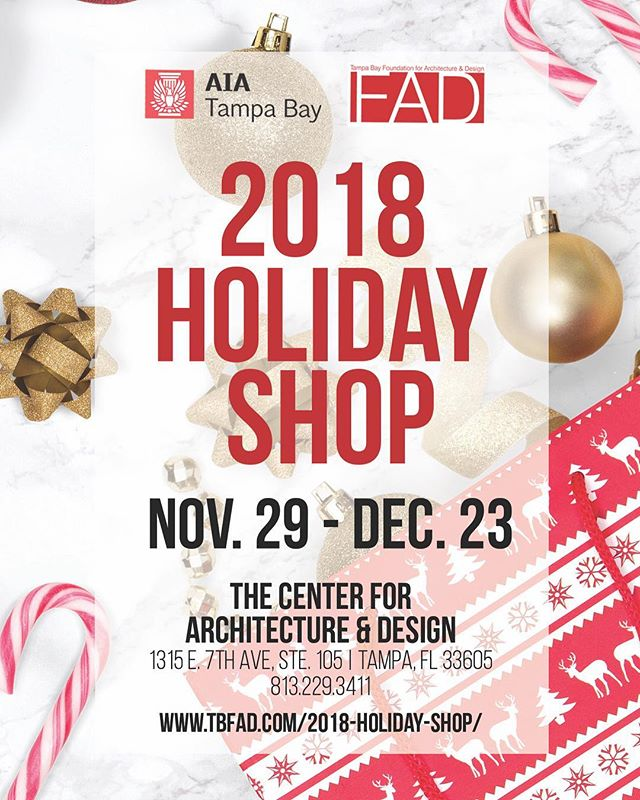 🎁Have you checked out our 2018 TBFAD Holiday Shop?! Don't miss it! We have gathered the work of 25 talented local artists; each item is unique and one-of-a-kind and priced under $100!! 🔴Bring Joy to your loved one this holiday while supporting your local artists and contributing to your non=profit @TBFAD  You can shop online at tbfad.com/2018-holiday-shop or visit our store at  the Center for Architecture and Design 1315 E 7th Ave Suite 105 Tampa, FL Store Hours: Mon-Fri: 10:00 am – 4:00 pm Extended Hours Saturday: 4:00 – 7:00 pm