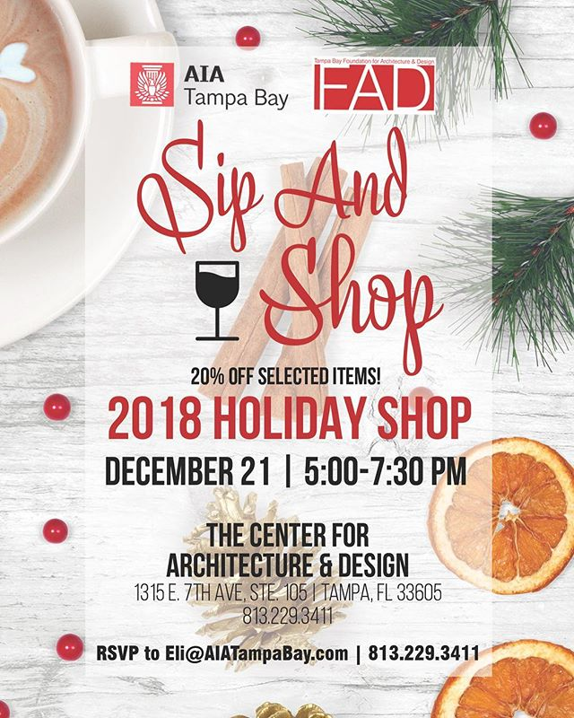 Join us this Friday from 5:00-7:30 pm for our first Sip and Shop event!  Shop unique, one-of-a-kind items while enjoying free wine and snacks!!! All items are under $100 with select items 20% off.  Support the talent of local artists while contributing to our non-profit– @tampabayfad