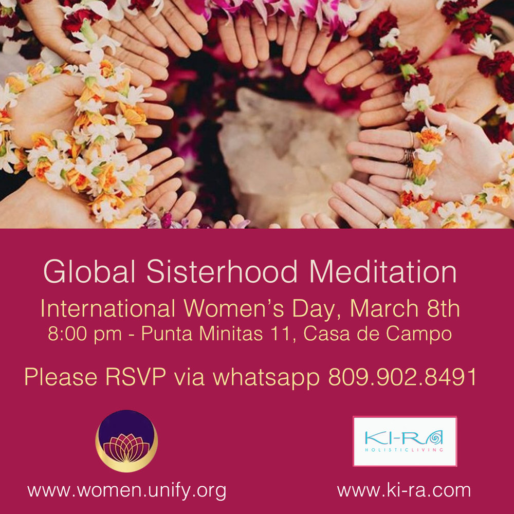 Calling all sisters to join in this global meditation to bring light and love first to ourselves and spread it to our community.