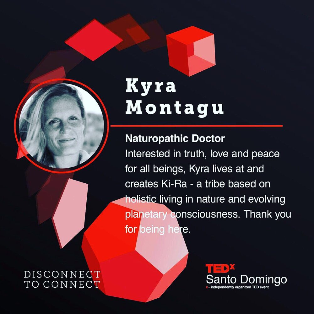 TED X Santo Domingo   November 2017, Kyra gives a heartfelt talk called 'Kept from Revolution' on the importance of 'being the change' and the genuine planetary need for awakening.   https://www.youtube.com/watch?v=VlMJnYy37OY&t=3s