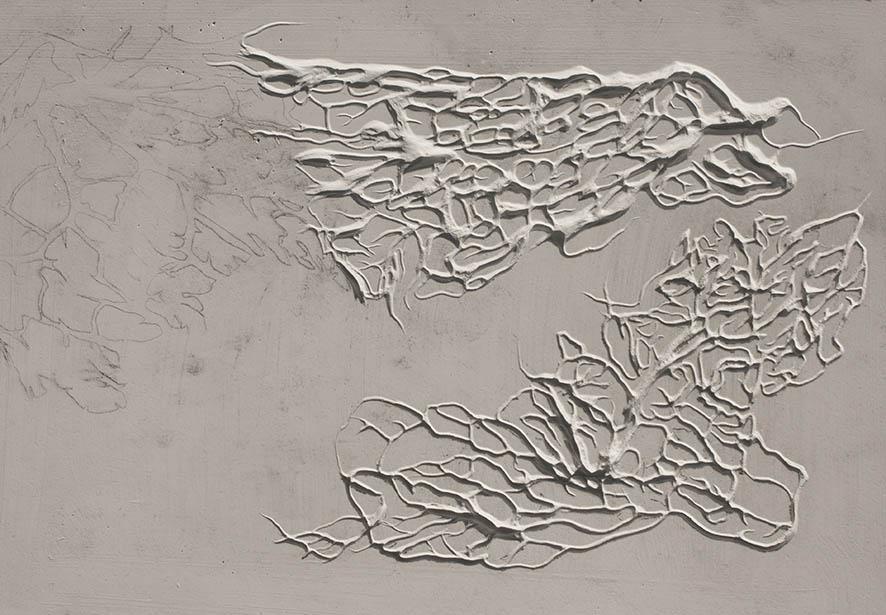 Bloque de yeso tallado. La influencia de lo gráfico, el dibujo y el grabado en mi trabajo.