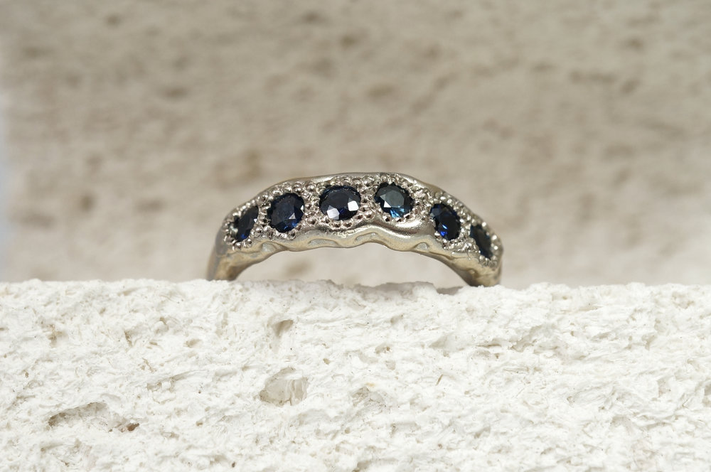 Bespoke Engagement Ring. 18ct White Palladium gold with Blue Australian Sapphires.