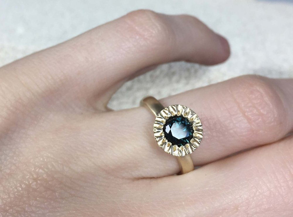 Teal Blue Green Australian Sapphire in 9ct Yellow Gold. Alexandra Dodds Custom Alternative Engagement Ring. Sydney NSW.