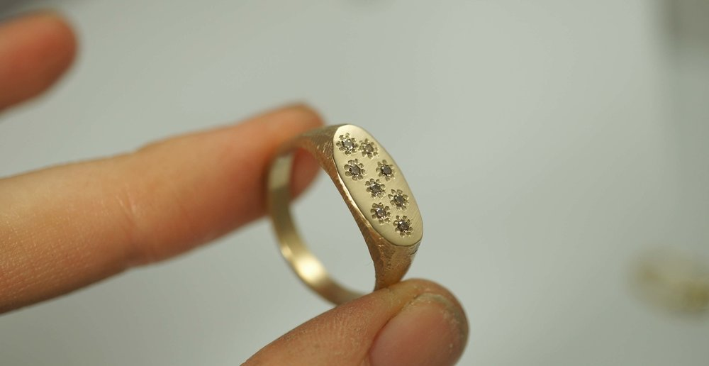 Custom gold signet ring champagne diamonds